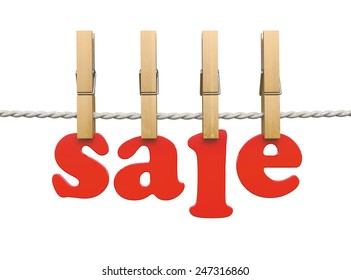3d render of red sale text with wooden clothespins on the clothesline