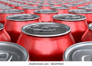 3D render of red soda cans