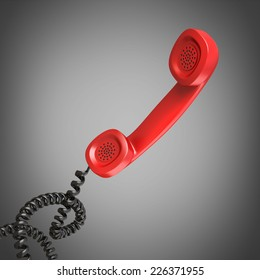 3d render of a red telephone handset High resolution