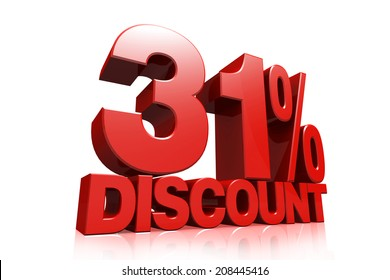 3D render red text 31 percent discount on white background with reflection