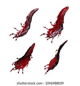 3d render, red wine, liquid splash, cranberry juice, fruit tea, color ink, wavy jets, clip art collection, design elements isolated on white background