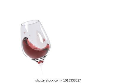 3D render of red wine splashes in a clear glass on white background