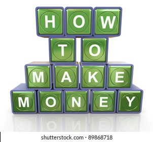 3d render of reflective textbox of 'how to make money'