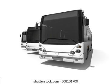 3D render representing a fleet of buses / a fleet of buses