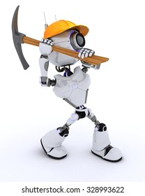 3D Render of a Robot Builder with a pickaxe