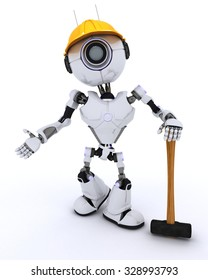 3D Render of a Robot Builder with a sledgehammer