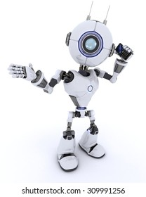 3D Render of an Robot with cell phone