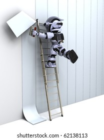 3D render of robot decorating a wall