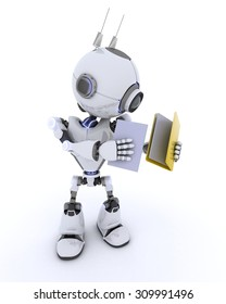 3D Render of an Robot with folder and documents