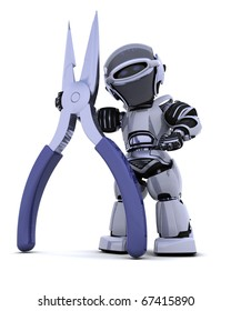 3D render of robot with a pair of pliers