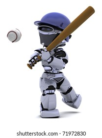 3D render of a Robot playing baseball