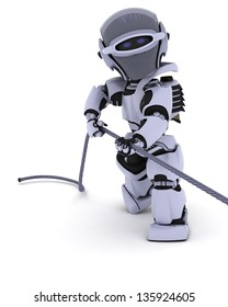 3D render of a Robot Pulling on a Steel Cable