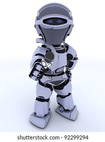 3D render of a Robot with a reporters microphone