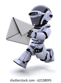 3D render of robot running with an envelope