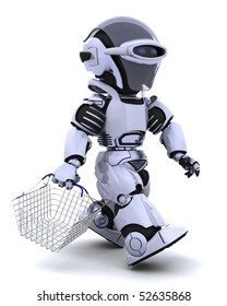 3D render of a robot shopping with a basket