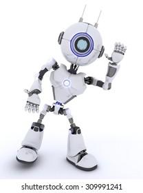 3D render of a Robot waving hello