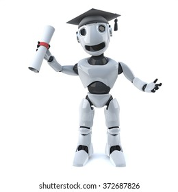3d render of a robot wearing a graduate mortar board and holding a diploma scroll