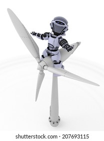3D Render of a Robot with wind turbine
