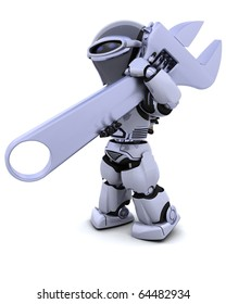 3D render of robot with a wrench