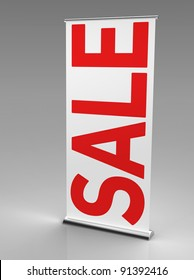 """3d render of a roll up banner with a big inscription saying """"sale""""  on a grey background"""