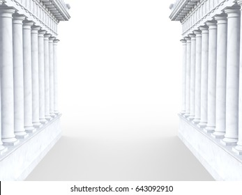 3d render of roman-style column portal on a white background