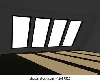 3d render of roof window