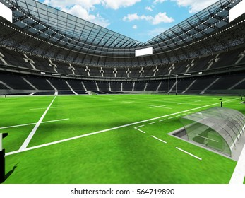 3D render of a round rugby stadium with  black seats and VIP boxes for hundred thousand people