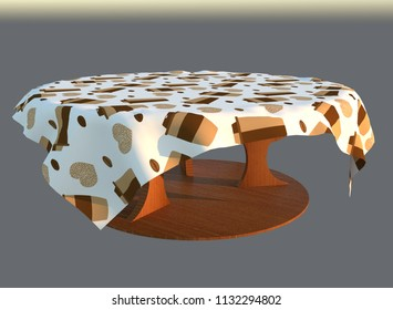 3d render of round wooden coffee table with pattern tablecloths illustration