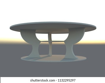 3d render of round wooden coffee table with realistic texture, illustration