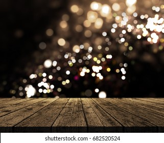 3D render of a rustic wooden table on a bokeh lights background