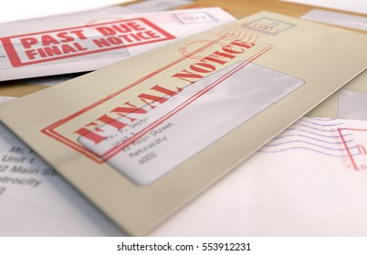 A 3D render of a scattered stack of regular envelopes with delivery stamps and a clear window and the top one saying payment due symbolizing bills and debt on an isolated white background
