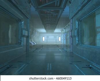 3d render of Sci-Fi corridor interior design