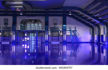 3d render of Sci-Fi hangar blue interior background illuminated with blue neon lights