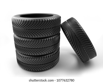 3D render of set of four car tires shot on white