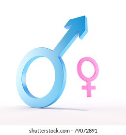 3d render of a shiny blue male symbol in front of a shiny pink blurred female symbol, on a white background, symbolize superiority and inferiority