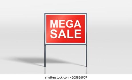 3d render of shop signage stands mega sale