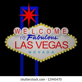 3D render of the sign Welcome to fabulous Las Vegas Nevada