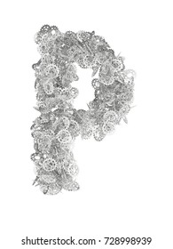 3D render of silver or grey alphabet make sprockets. letter P with clipping path. Isolated on white background