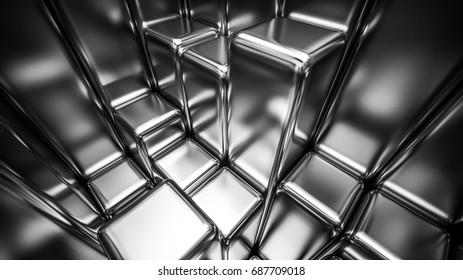 3d render of silver metal blocks