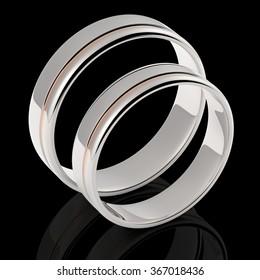3D render of silver wedding rings on dark background