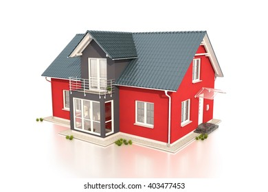 3d render of single family house over white background