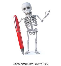 3d render of a skeleton holding a large red pen