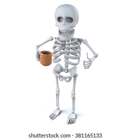3d render of a skeleton holding a mug with his thumb up in an ok sign