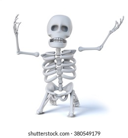 3d render of a skeleton on his knees and holding his arms aloft in total despair.