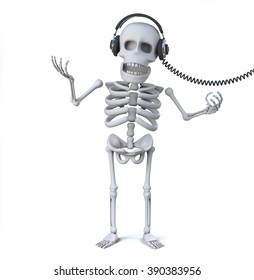 3d render of a skeleton wearing headphones