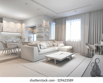 3d render of small apartments in pastel colors. Kitchen in green