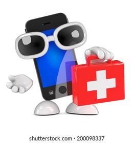 3d render of a smartphone character carrying a first aid kit