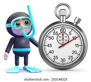 3d render of a snorkel diver and stopwatch