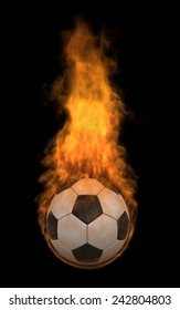 3d render of soccer ball in flame over black background