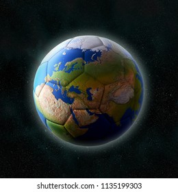 3D render of soccer ball with superimposed Planet Earth continents placed in outer space with stars